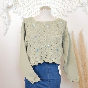 COPY - Vintage Embroidered Cropped Crochet Sweater
